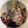 Giandomenico Tiepolo (1727 - 1804) Sacra Famiglia (1749). A metà pulitura