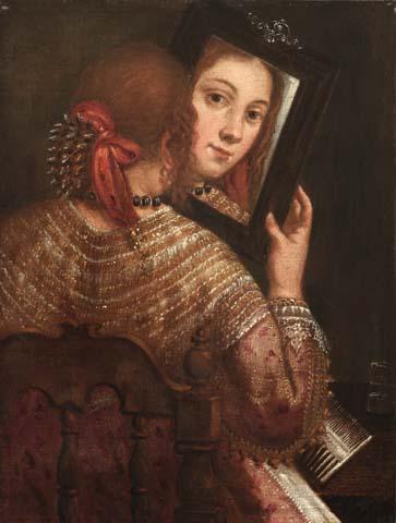 Girolamo forabosco ragazza allo specchio museo correr - Ragazza davanti allo specchio ...
