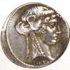 Roma Repubblica, zecca di Roma, 65 a.C. Denario, Testa della Sybilla/tripode