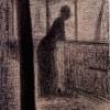 Georges Seurat Donna appoggiata a un parapetto della Senna Matita Conté Sul verso, iscrizione e sigla, a matita nera: de Seurat 323 e a matita rossa: 323 24,1 x 16 cm Parigi, collezione Prat mostra Museo Correr Da poussin a Cézanne