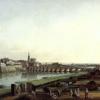 Bernardo Bellotto, Dresda dalla riva destra dell'Elba a monte del ponte di Augusto