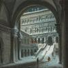 Luigi Querena(1824 - 1887), Venezia con la neve. Palazzo Ducale, Scala dei Giganti