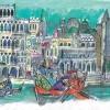 """EMANUELE LUZZATI """"Partirsi da Vinegia tutti e tre..."""" Illustrazione per """"Il Milione"""" di Marco Polo"""